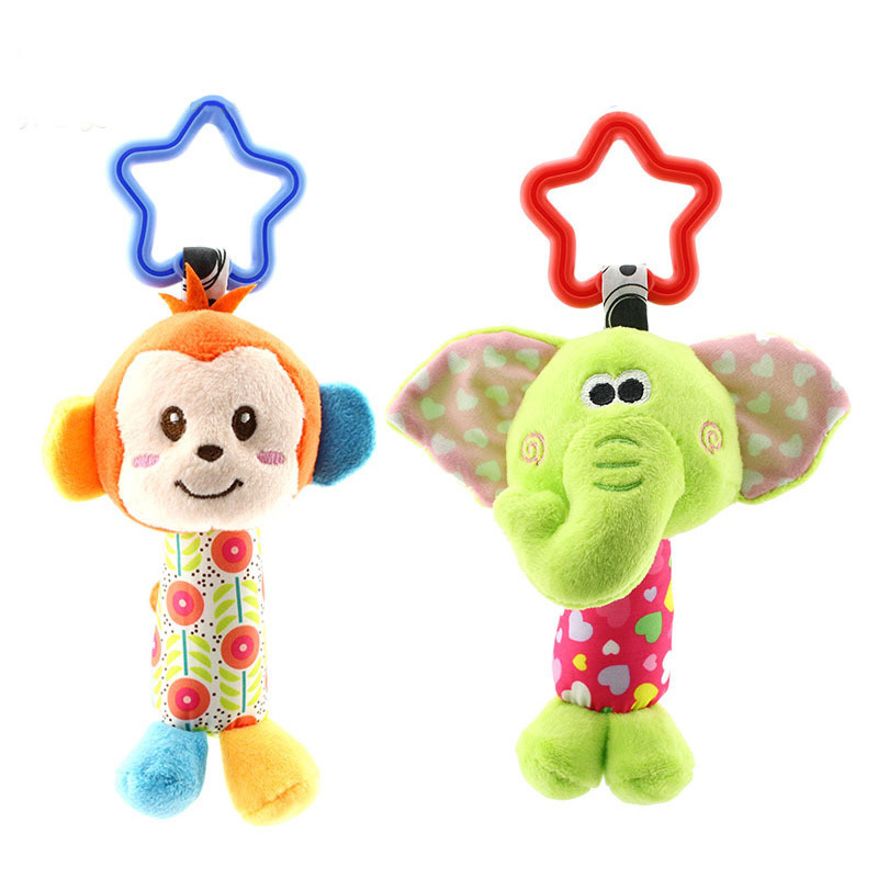 Hanging Plush Baby Toy Rattle Lovely Cartoon Animal Bell Newborn Stroller Accessories Toys 6 Style Lion Deer Elephant
