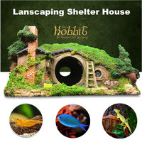 New Hobbit Style Artificial Aquarium Shelter House Decoration Fish Tank Ornament Rock Cave For Fish Shrimp Reptile Hiding