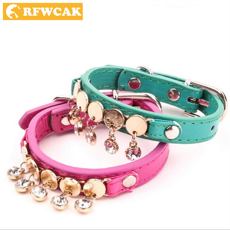 RFWCAK Hot Sale Fashion Pu Leather Rhinestone pet Collars Neck Protection Safe Collar For Small Medium Large Dog Clothes Jewelry