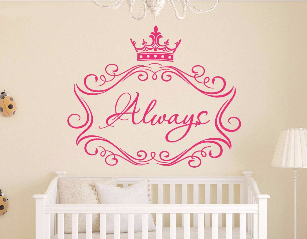 fashionable custom made quote creative girl name wall decals cute