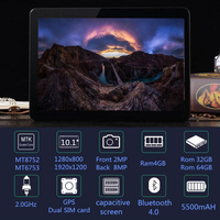 Original 10 inch 3G/4G LTE Phone tablet PC Octa Core RAM 4GB ROM 64GB 1920*1200 IPS Dual SIM card tablets pcs 10.1 free Shipping