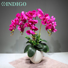 INDIGO - (9pcs/lot) Real Touch Purple Orchids Traditional Flower Arrangment With Leaves Wedding Event Centerpiece Free Shipping