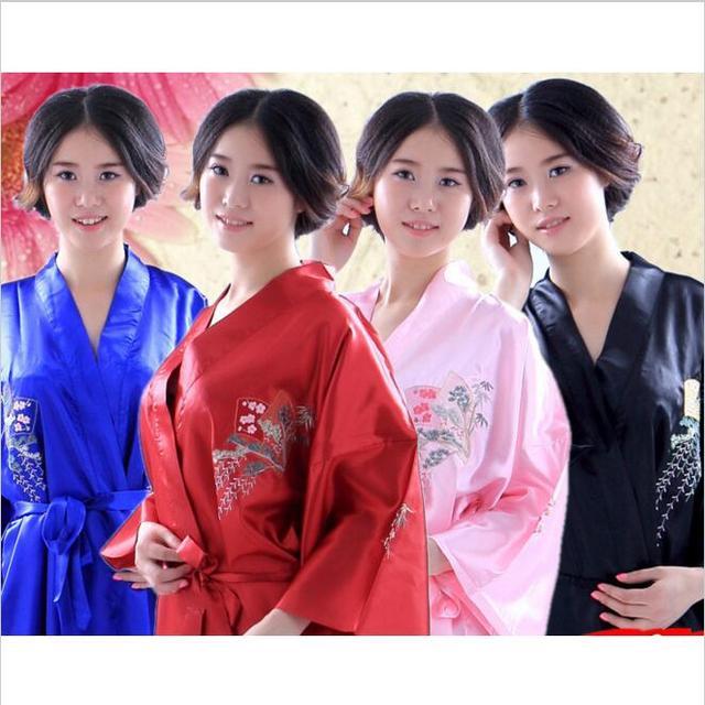 Chinese Women Silk Satin Robe Japanese Geisha Yukata Kimono Bathrobe Sexy Sleepwear Flower Nightgown