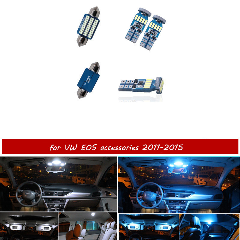 <font><b>10pcs</b></font> free shipping Error Free LED Interior Light Kit Package for Volkswagen EOS accessories 2011-2015 white ice blue pink image