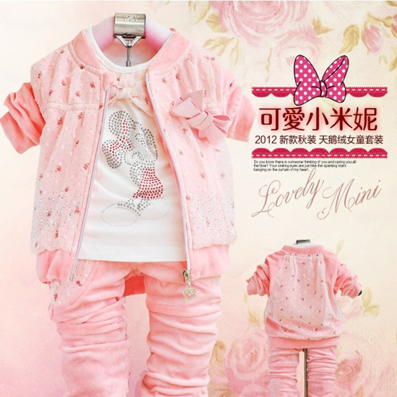 ФОТО Anlencool Baby girls set velvet three-piece girl Autumn baby clothing brand baby girl clothes sets new baby clothing set