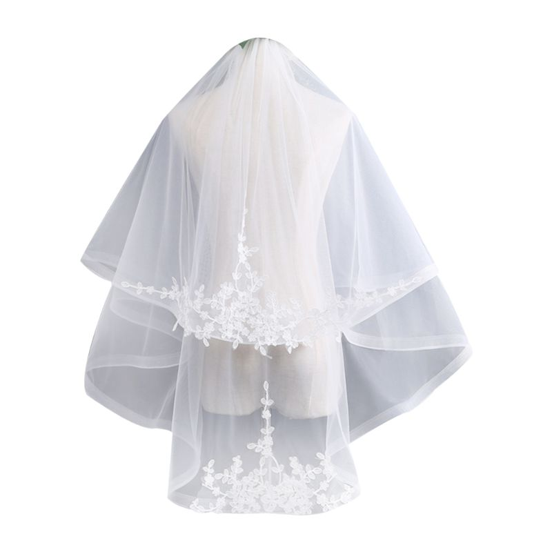 2 Tier Double-Layer Womens Tulle Fingertip Length Wedding Veil Embroidered Leaves Applique Wide Wavy Trim Bridal Veil With Comb