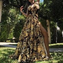 Missord женское сексуальное платье с v-образным вырезом и открытыми плечами, длинное платье с принтом, женское платье с высоким разрезом без спинки, элегантное платье макси FT18833