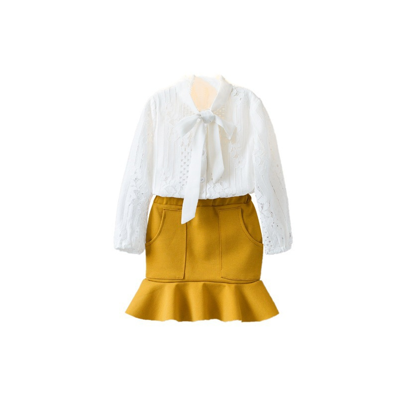 3-7T Baby Girls Clothes Lace Long Sleeve Tops Ruffle Skirt Girls Clothing Sets Children Clothing Two Piece Sets Kids Clothes high quality new spring autumn girls clothing sets kids clothes girls solid skirt tops set children clothing