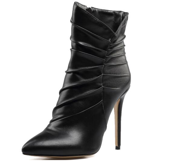 Spring and autumn woman black fold pointed toe ankle boots Ladies super high thin heel short boots Dress shoes Rome boots women suede pointed toe high heel ankle boots spring and autumn super high thin heel short boots black red rose red short boots
