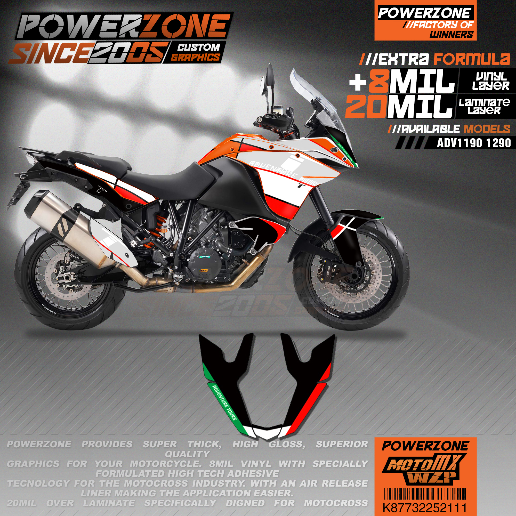 PowerZone Custom Team Graphics Backgrounds Decals 3M Stickers Kit For KTM ADV 1050 1090 1190 1290 111