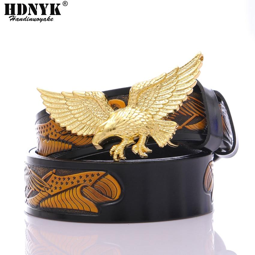 New Fashion Famous Eagle Design Belts For Men Cowskin Leather Belt  Men Handcraft Belt Leisure Waistband Fly Eagle Buckle