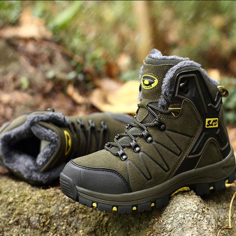 SUROM de los hombres de invierno de Botas de cuero de los hombres zapatos casuales zapatos al aire libre de tobillo de felpa caliente Botas de nieve zapatos de trabajo zapatos de calzado de los hombres Botas masculina