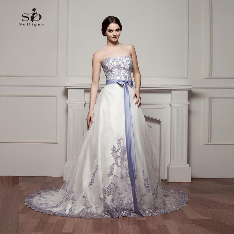 Long Wedding Dress Cheap Purple Strapless Romantic Lace Appliques With Beads A-line Bridal Gown Tulle Floor-length High Quality