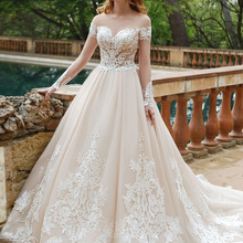 Fmogl Sexy Long Sleeve Wedding Dresses 2019 Court Train