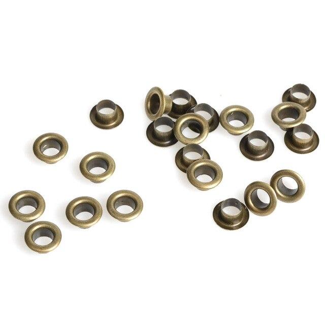 100 piezas de recortes de bronce antiguo ojales interiores de 5mm ojales de Metal para Scrapbooking embelishment ropa ojales costura