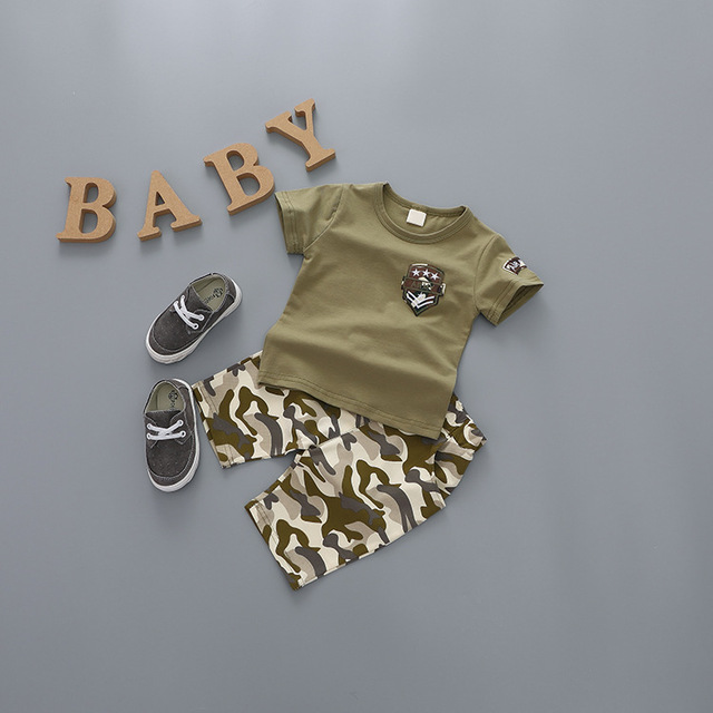 spring summer clothing new camouflage suit baby boys and girls children's letters T-shirt + casual shorts pants set fashion