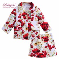Pettigirl Fashion Children Clothing set Floral Print Girl Suits Tops and Skirts Red Rose For Girls Clothing Set  CS90317-716F
