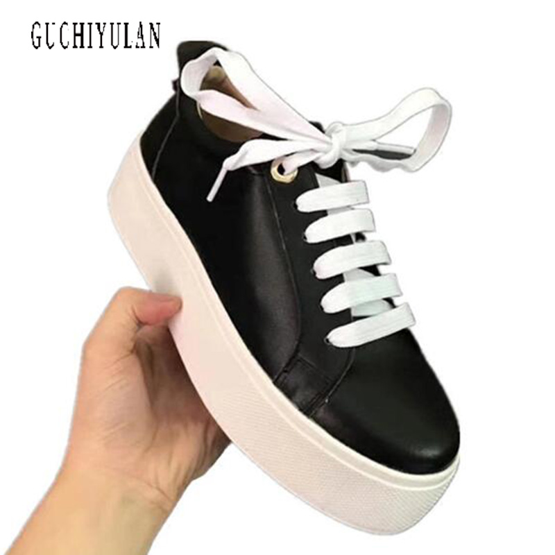 creepers shoes woman lace up flats shoes Spring Autumn 2018 New Designer white Black Fashion Creepers Ladies Flats Shoes