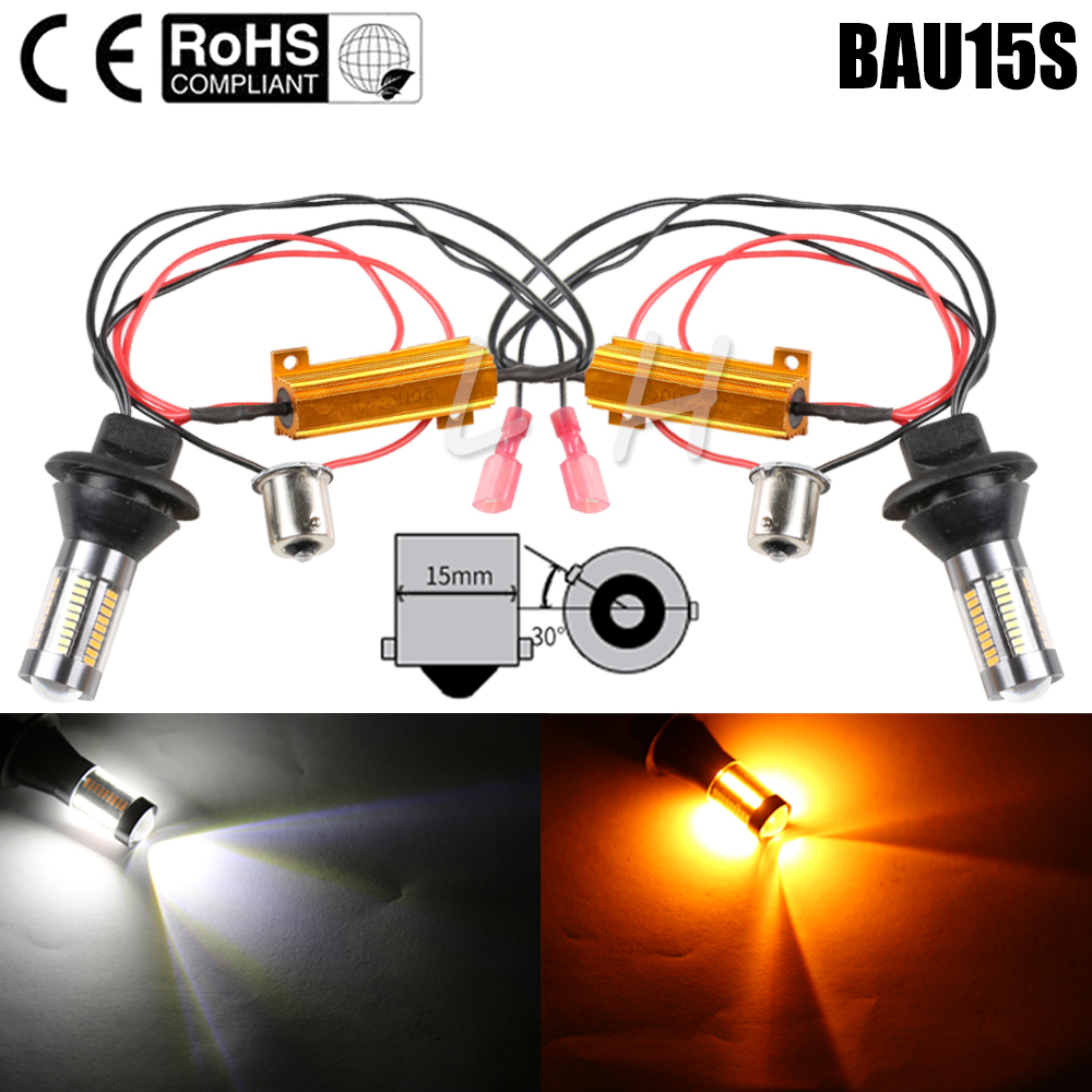 2x Turn Signal Bulb Dual Color White Amber Yellow PY21W BAU15S LED Canbus Error Free 4014 66SMD DRL Lights 150 degree