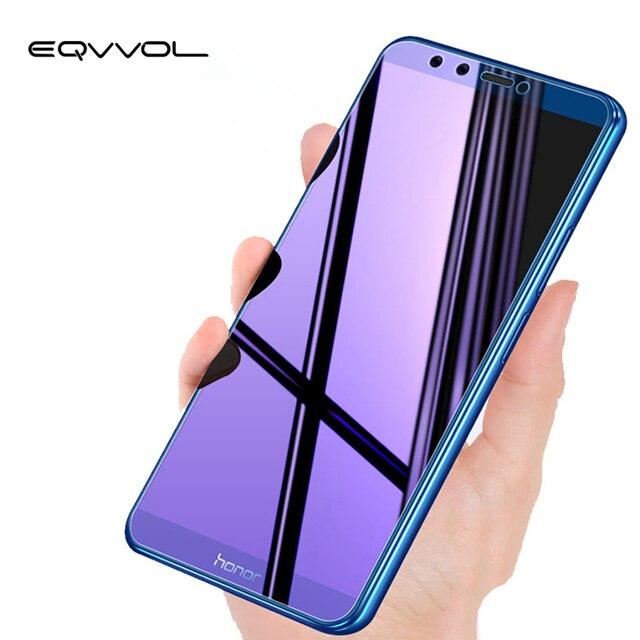 Eqvvol Cobertura Completa Roxo Luz de Vidro Temperado Para Huawei Honor 8 9 10 8X Jogar MAX Protetor De Tela Para Honra nota 10 8 V10 Filme