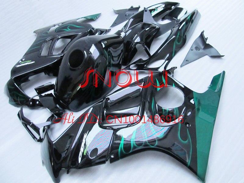 Green Flame in Black for HONA CBR600-F3 97-98 CBR600 F3 1997-1998 CBR600F3 600F3 97 98 1997 1998 body work 2gifts