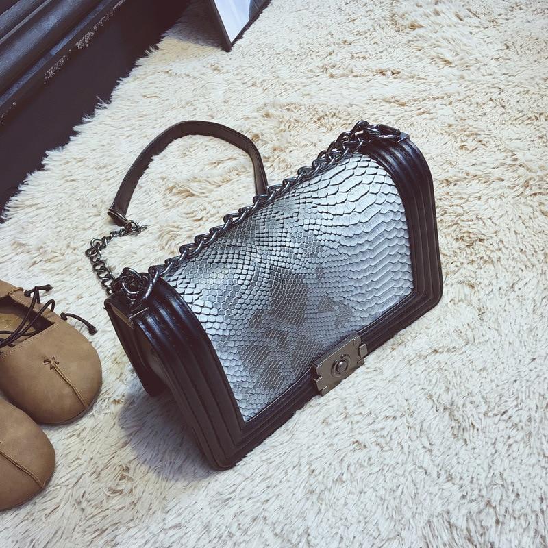 Mode Serpentine Women Bag Sequined Kedjor Axelväska Små Kvinnor - Handväskor - Foto 4