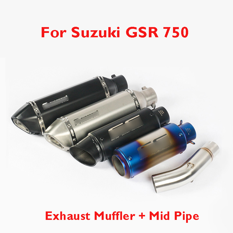 GSR 750 Motorcycle Slip on Exhaust System Muffler Exhaust Escape Pipe Mid Middle Connect Link Tube