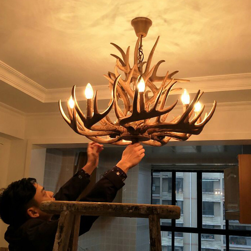 europe retro pendant lamp candle antler chandelier american resin
