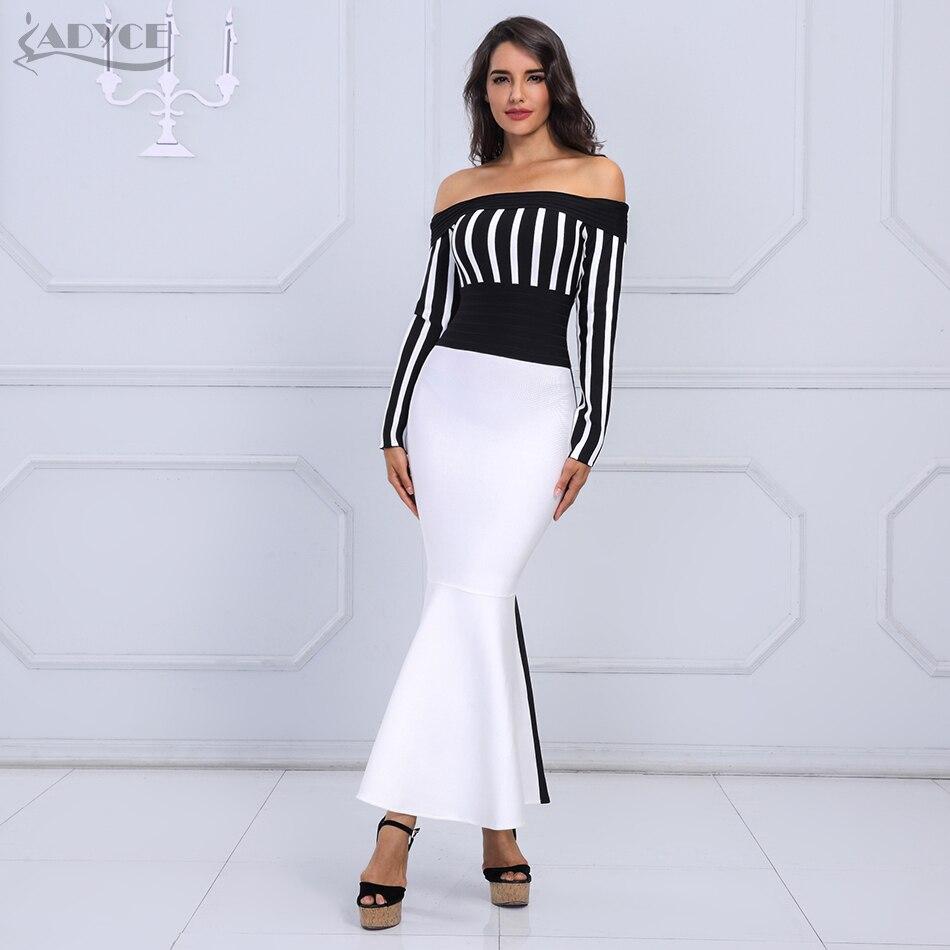 ADYCE 2019 Chic Summer Women Bandage Dress Sexy Black White Long Sleeve Striped Slash Neck Evening