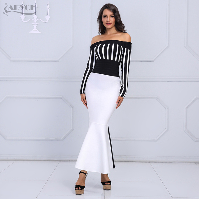 ADYCE 2018 Chic Summer Women Bandage Dress Sexy Black&White Long Sleeve Striped Slash Neck Evening Party Dress Vestidos
