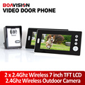 2.4GHz 7'' Wireless Video Door Phone Audio Visual Intercom 2 Monitors With CMOS Camera/Wireless Video Intercom