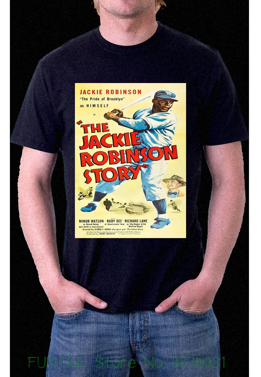 Print T Shirt Summer Style Hot The Jackie Robinson Story Baseball Black T-shirt S M L Xl Xxl Xxxl image