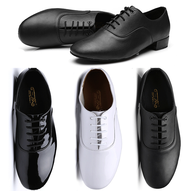 הנחה חדש!! נעלי ריקוד סלוניים של גברים שחור לבן באיכות גבוהה/סלסה טנגו/נעלי ריקוד לטיני גברים