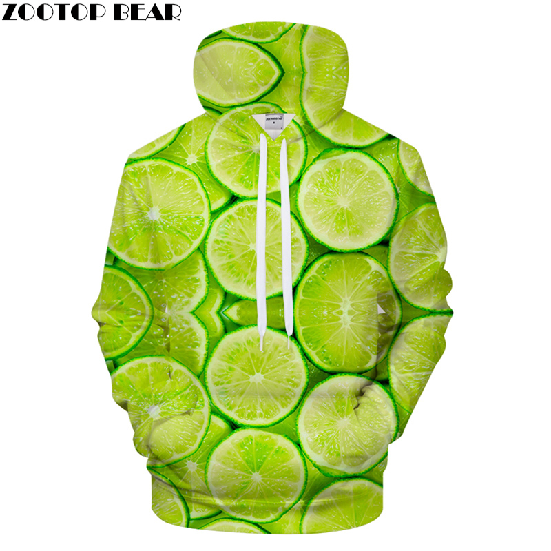 Green Orange Hoodies 3D Print hoodie Men Women Hoody Streetwear Sweatshirt Print Tracksuit 2018 Jacket Pullover Coat Small Fresh
