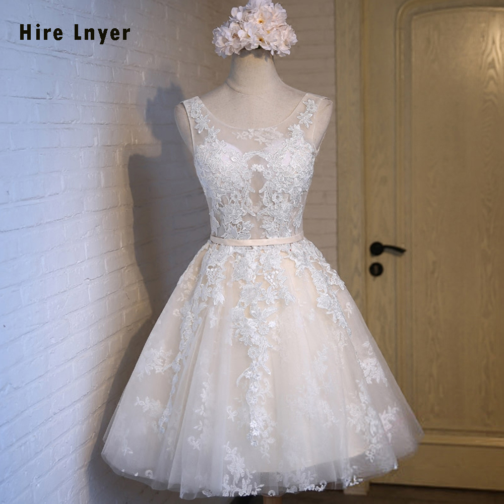HIRE LNYER Custom Made Formal Party Gowns Lace Up Illusion Appliques Bridesmaid Dresses For Junior 2019 Alibaba Retail Store