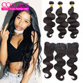 7A Brazilian Body Wave With Closure 3 Bundles Mink Brazilian Hair With Frontal Ear To Ear Lace Frontal Closure With Bundles