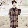 Winter Coat Women Warm Cotton-padded Wool Parkas Long Female Cashmere Coat Plaid Trun Down Collar  Jacket Outwear Coat MZ895