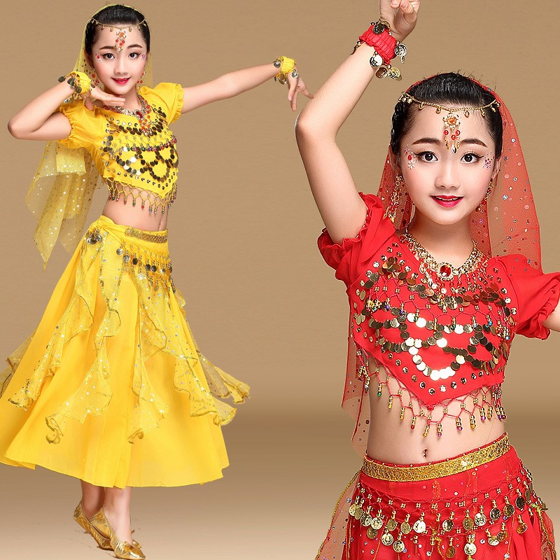 8f4c3894f Buy Online 4 colors New belly dance costume set girls Short sleeves ...