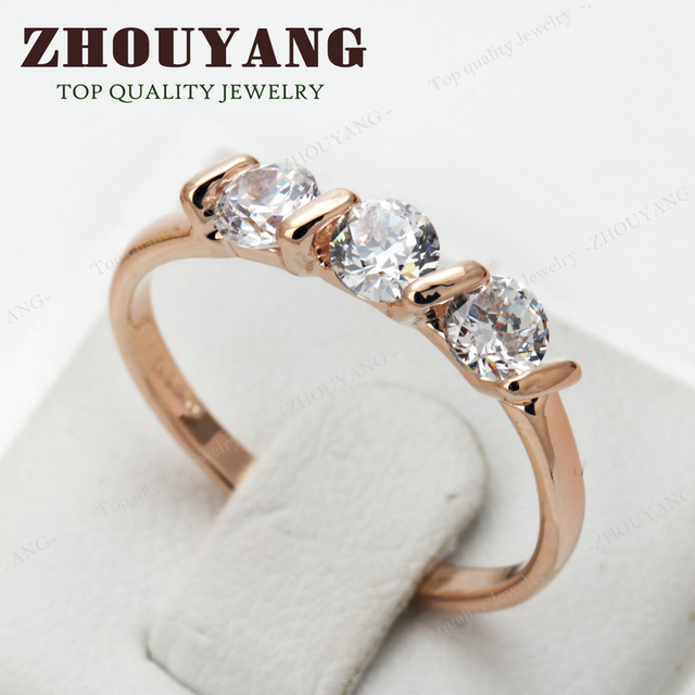 Top Quality Concise Crystal Ring Rose Gold Color Austrian Crystals Full Sizes Wholesale R067 R068 2