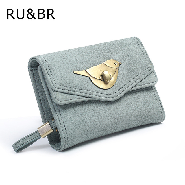 RU&BR Retro Style Ladies Purse Minimalist Cute Metal Bird Patterns Wallet Long Litchi Profile Two Fold Hasp Soild Card Holder