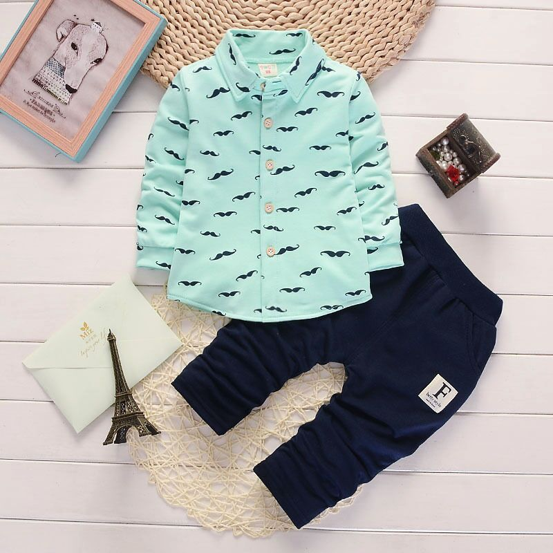 Free Ship Wholesale New Spring Autumn Boys 2pc Suit mustache Print Shirt Pants Children Clothing Baby