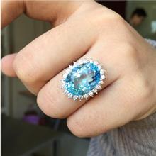 Топаз Кольцо 12*16 мм драгоценный камень кольцо натуральный настоящий голубой топаз кольцо из стерлингового серебра 925 пробы для мужчин или женщин