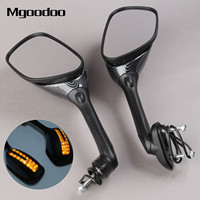 Mgoodoo Motorcycle Mirrors Integrated Turn Signal Mirrors LED Light Side Rearview Mirror For Honda Yamaha Ducati