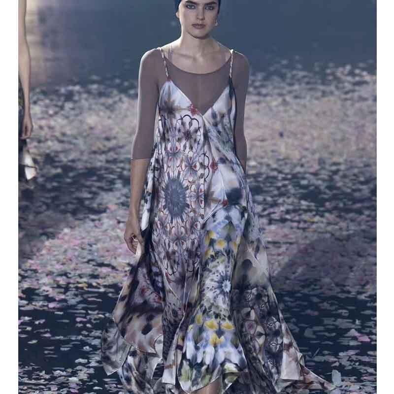 Cosmicchic Runway Strap Sexy Maxi Dress Flower Print V Neck Big Swing Beach Dress Loose Twill
