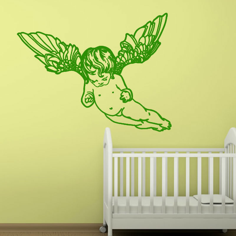 Cute Home Decor Flying Cherub Wings Angel Wall Decal Removable Art Vinyl Wall Sticker For Baby Room