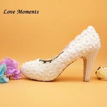 Love Moments 10cm Thin Heel shoes Woman White flower Wedding shoes Bride Ladies single shoes female party dress shoes все цены