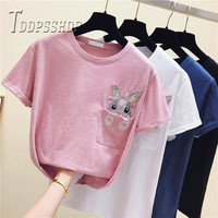 Вышивка кролик карман для женщин футболка мягкая ткань белый цвет короткий рукав с круглым вырезом на лето Женский футболки