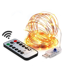 10m 100 LED USB Plug in String Lights 8 Modes Waterproof Copper Wire Light with Remote Control Timer for Garden Outdoor Decor