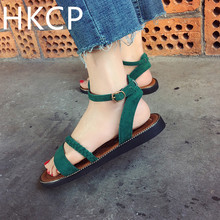 HKCP Casual versatile womens shoes 2019 summer new Korean flat student strappy gladiator sandals C135