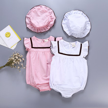 Solid color Baby girls cloth 2 pieces/set with HAT baby summer rompers cotton fabric newborn jumpsuits bebe roupas